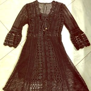 Self Portrait black lace dress
